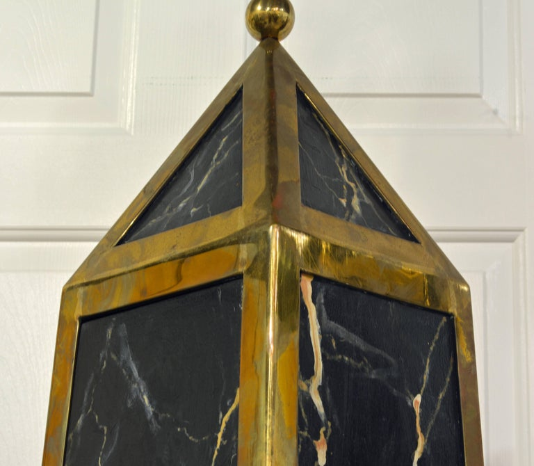 Pair of Monumental Painted and Brass Mounted Neoclassical Obelisks with Cabinets For Sale 4