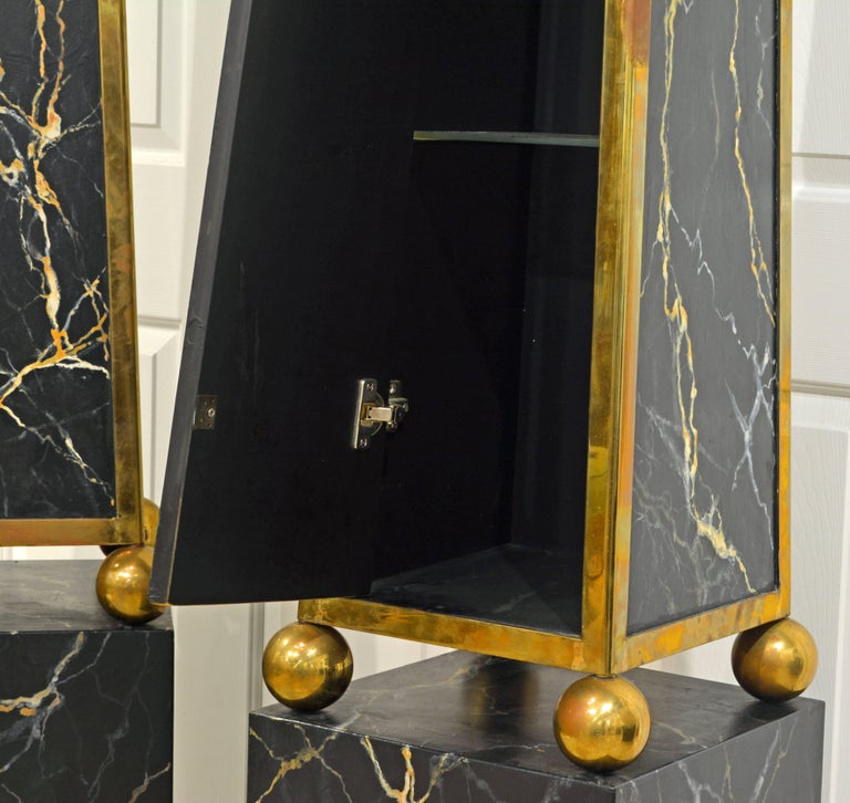 Pair of Monumental Painted and Brass Mounted Neoclassical Obelisks with Cabinets In Good Condition For Sale In Ft. Lauderdale, FL