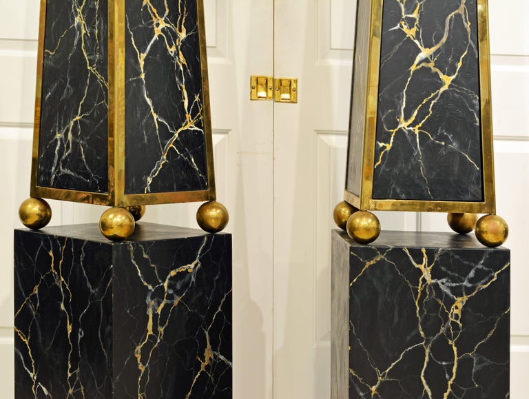 20th Century Pair of Monumental Painted and Brass Mounted Neoclassical Obelisks with Cabinets For Sale