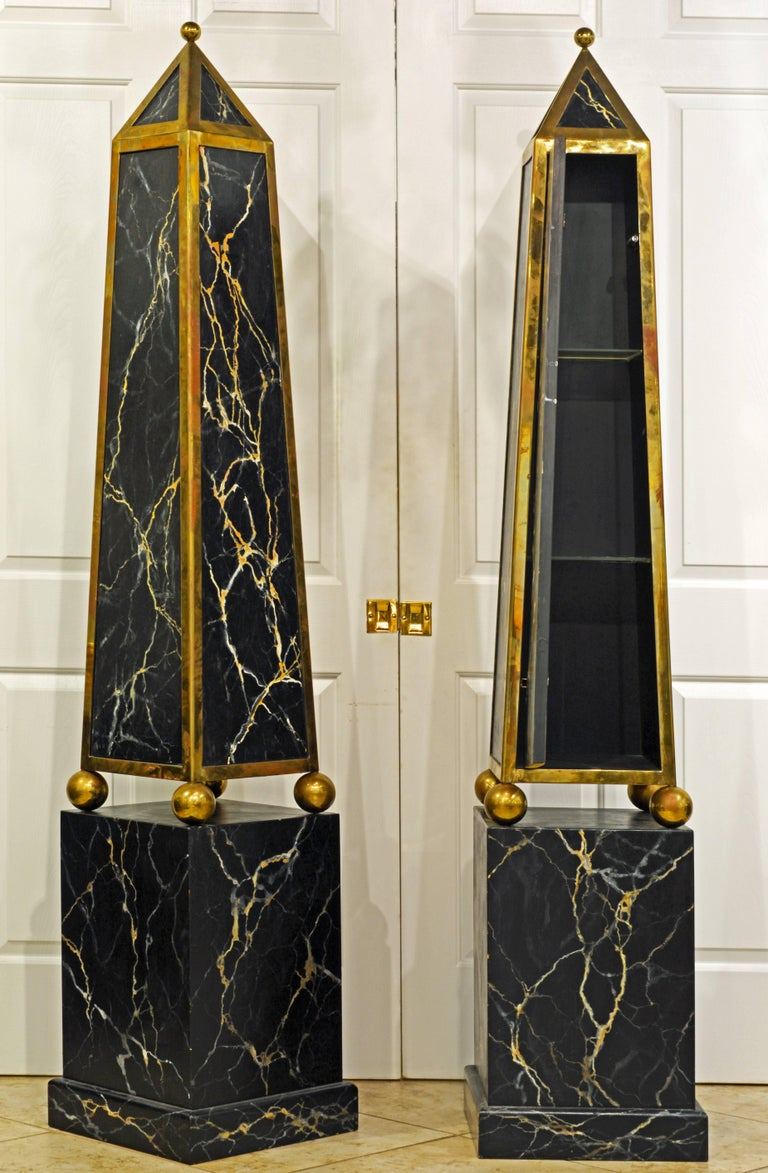 Hand-Painted Pair of Monumental Painted and Brass Mounted Neoclassical Obelisks with Cabinets For Sale