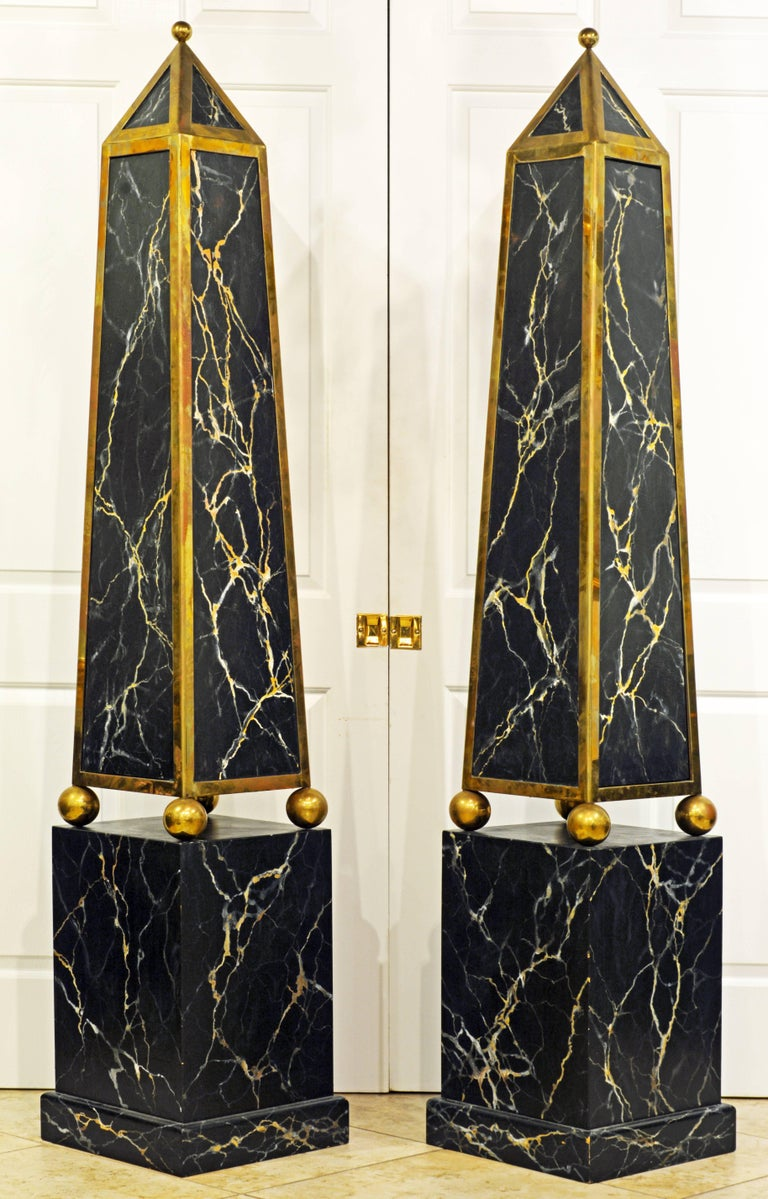 American Pair of Monumental Painted and Brass Mounted Neoclassical Obelisks with Cabinets For Sale