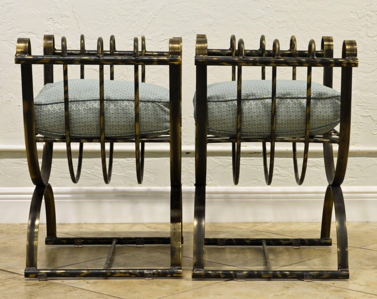 Pair of Classical Style Patinated Steel 'Curule' Chairs with a Modern Twist 3