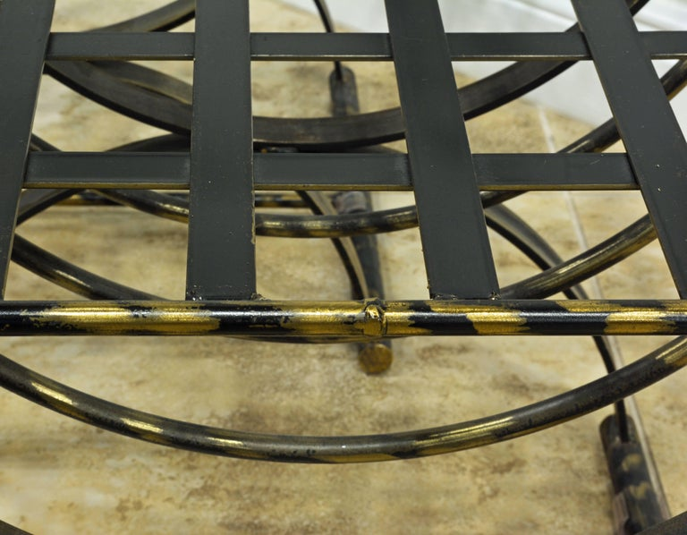 Pair of Classical Style Patinated Steel 'Curule' Chairs with a Modern Twist 7