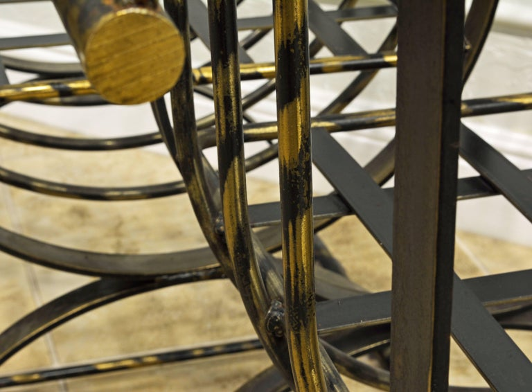 Pair of Classical Style Patinated Steel 'Curule' Chairs with a Modern Twist 8