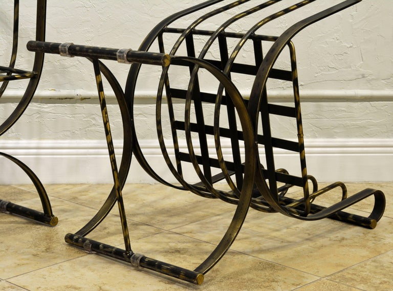 Pair of Classical Style Patinated Steel 'Curule' Chairs with a Modern Twist 9