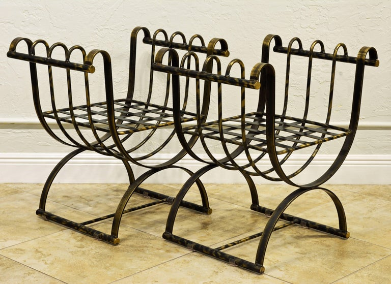 Pair of Classical Style Patinated Steel 'Curule' Chairs with a Modern Twist 5