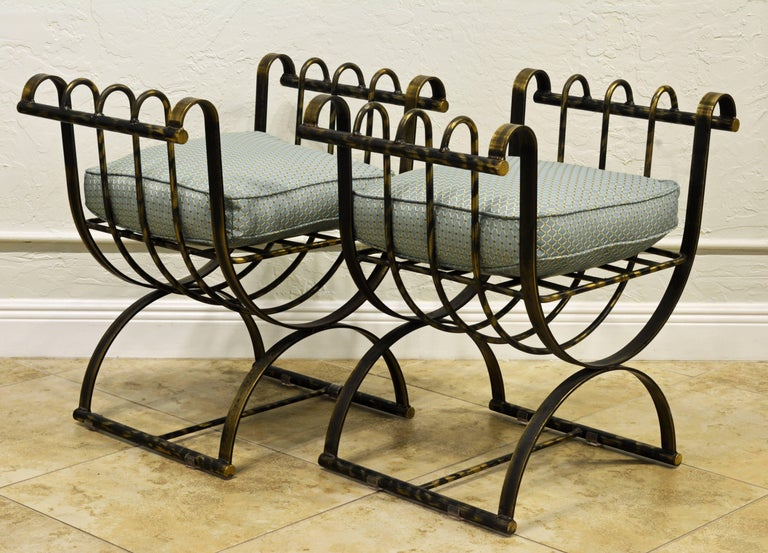 Pair of Classical Style Patinated Steel 'Curule' Chairs with a Modern Twist 4