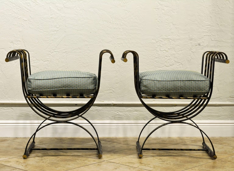 Pair of Classical Style Patinated Steel 'Curule' Chairs with a Modern Twist 2
