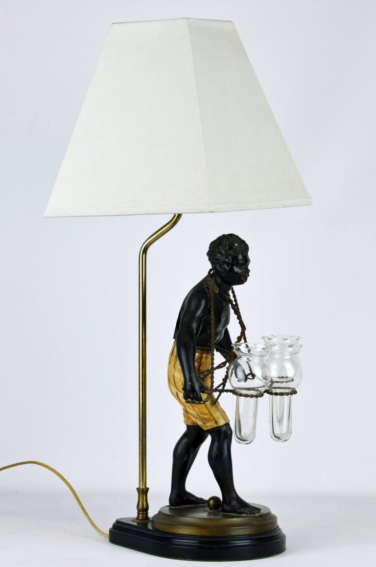 Mid-Century Modern Exotic Midcentury Style Painted Bronze Blackamoor Themed Table Lamp For Sale