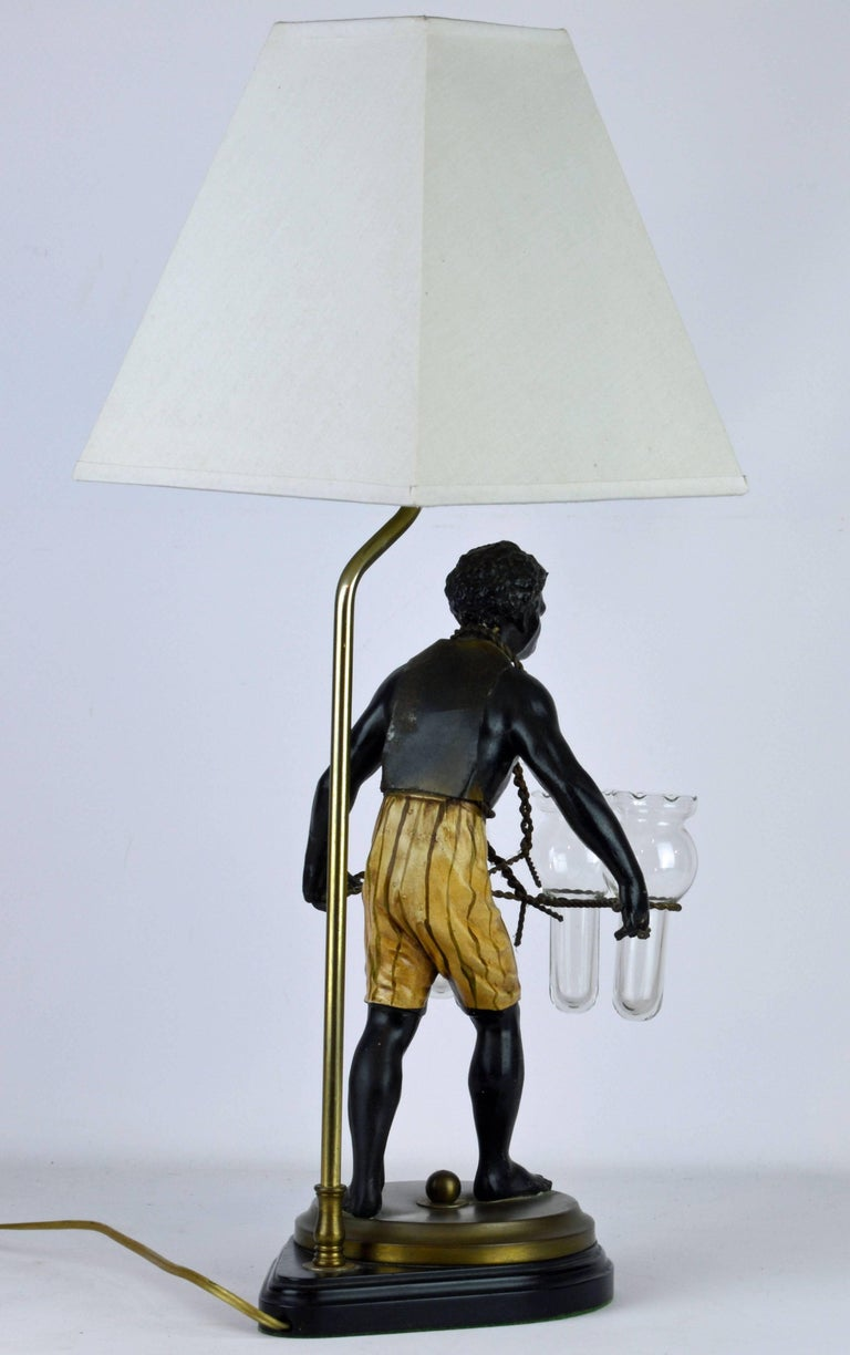 American Exotic Midcentury Style Painted Bronze Blackamoor Themed Table Lamp For Sale