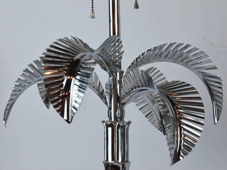 American Pair of Vintage Hollywood Regency Norman Perry Chromed Palm Frond Table Lamps For Sale