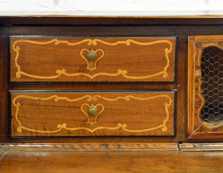 Charming 18th Century Italian Rococo Walnut and Fruitwood Inlaid Fall Front Desk For Sale 3
