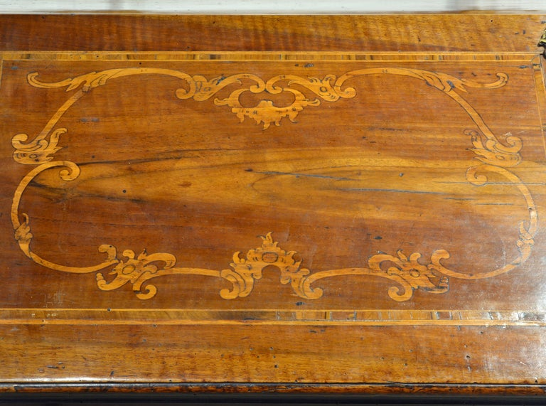 Brass Charming 18th Century Italian Rococo Walnut and Fruitwood Inlaid Fall Front Desk For Sale