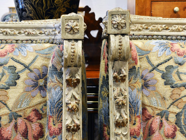 Pair of Late 19th Century, Louis XVI Style Carved Bergeres with Aubusson Cover For Sale 1