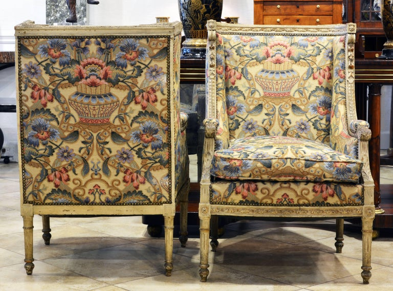 French Pair of Late 19th Century, Louis XVI Style Carved Bergeres with Aubusson Cover For Sale