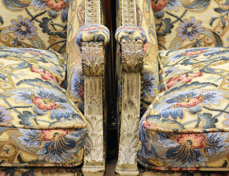 Pair of Late 19th Century, Louis XVI Style Carved Bergeres with Aubusson Cover For Sale 2