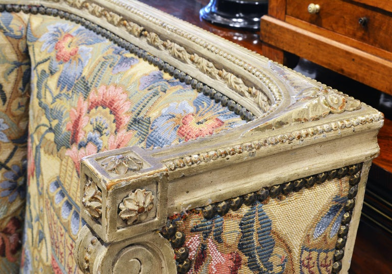 Pair of Late 19th Century, Louis XVI Style Carved Bergeres with Aubusson Cover For Sale 5