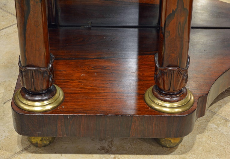 Noble English 19th Century Rosewood, Brass Trimmed and Mirrored Console Table For Sale 1