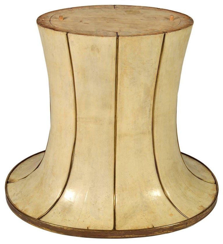 French parchment dining table. Pedestal base with brass adornments. Art Deco of the period. From a prominent collector. We have a glass top for it.