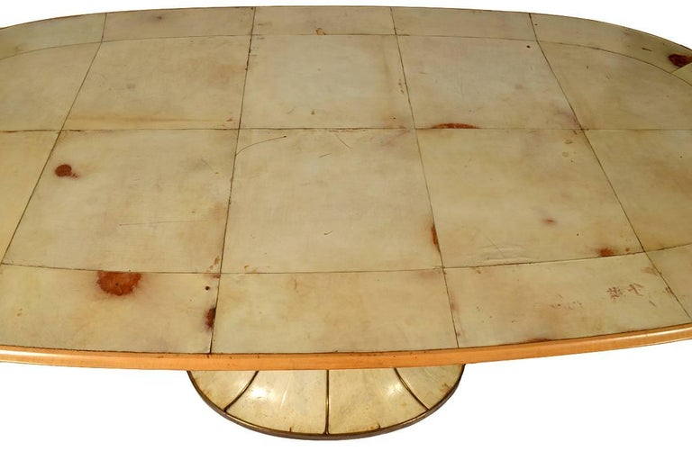 Fabulous French Art Deco Parchment Pedestal Base Dining Table For Sale 1