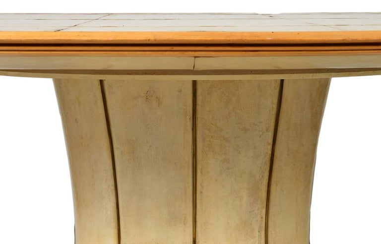 Fabulous French Art Deco Parchment Pedestal Base Dining Table For Sale 2