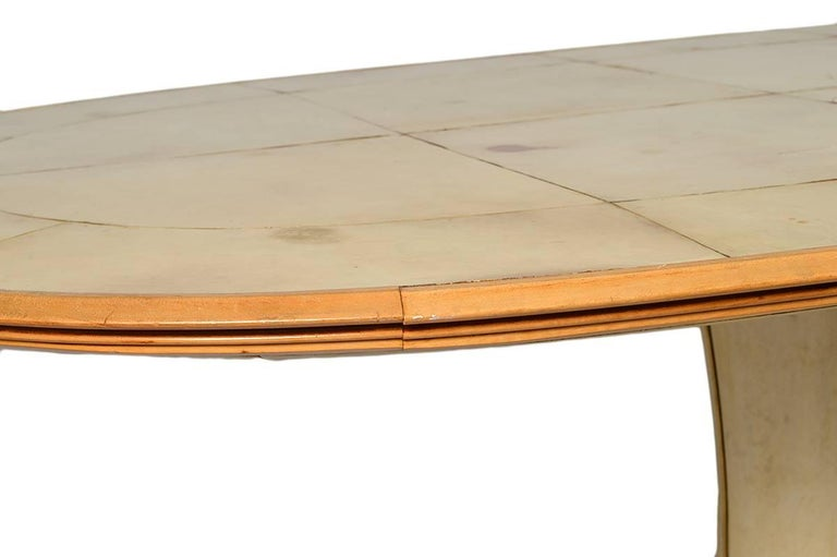 Fabulous French Art Deco Parchment Pedestal Base Dining Table For Sale 5