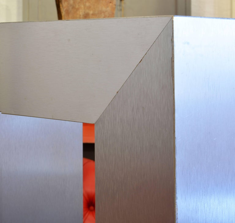 Brushed Modernist Square Arch Aluminium Clad Sculpture Display Pedestal For Sale