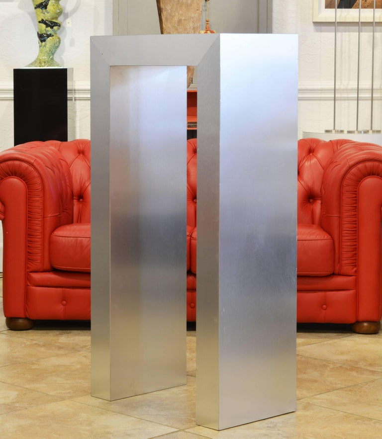 American Modernist Square Arch Aluminium Clad Sculpture Display Pedestal For Sale