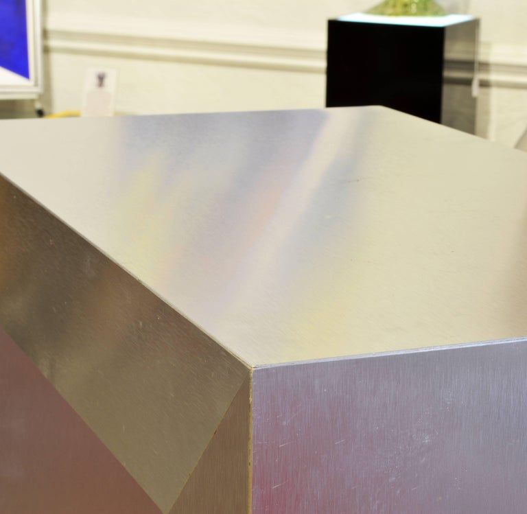Contemporary Modernist Square Arch Aluminium Clad Sculpture Display Pedestal For Sale