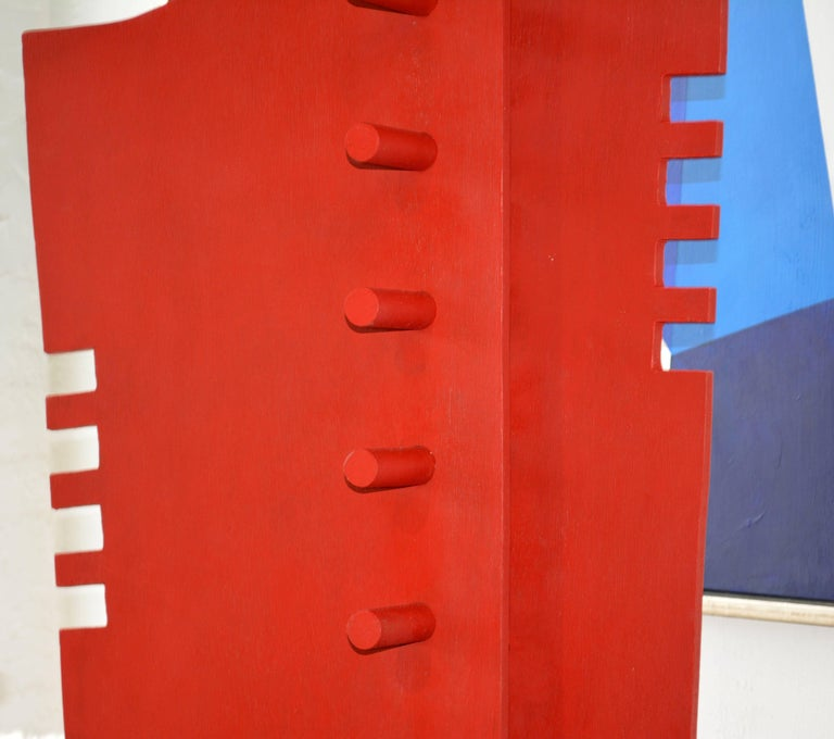 Painted Tall Abstract Red Wood Sculpture by Edward Toledano, British, 20th Century For Sale