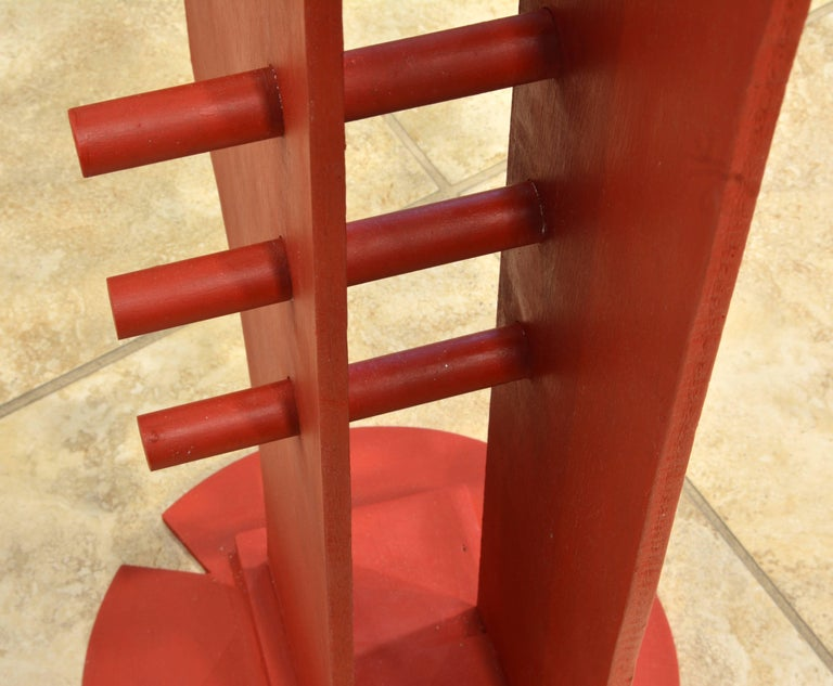 Tall Abstract Red Wood Sculpture by Edward Toledano, British, 20th Century For Sale 4