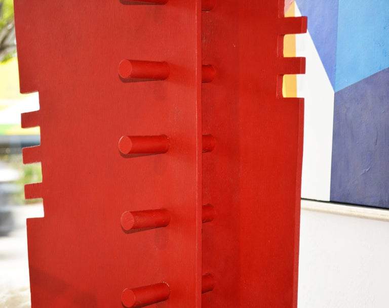 Tall Abstract Red Wood Sculpture by Edward Toledano, British, 20th Century In Good Condition For Sale In Ft. Lauderdale, FL