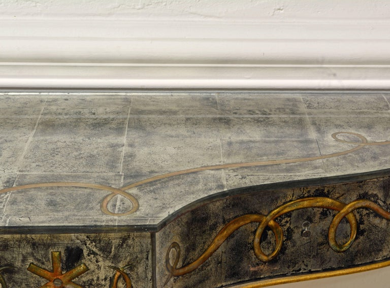 Early 20th Century Mirrored Console Table on Gilt Frame in Raymond Subes Manner For Sale 8