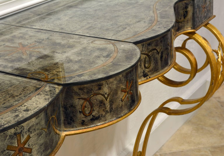 Early 20th Century Mirrored Console Table on Gilt Frame in Raymond Subes Manner For Sale 9