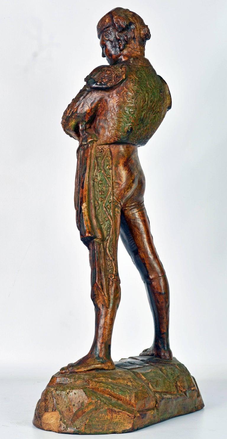 Mid-Century Modern 'El Cordobes' Large Patinated Terracotta Statue of the Legendary Spanish Matador For Sale