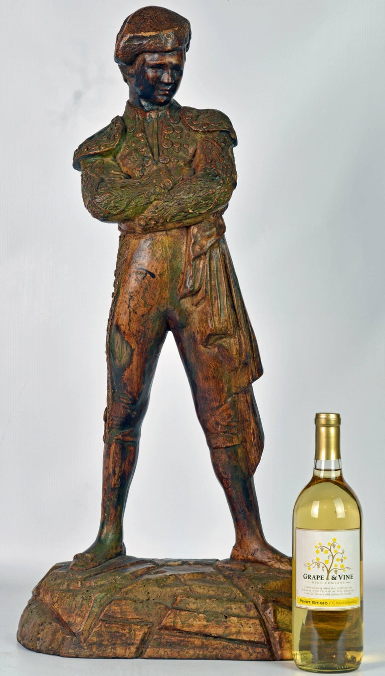 20th Century 'El Cordobes' Large Patinated Terracotta Statue of the Legendary Spanish Matador For Sale