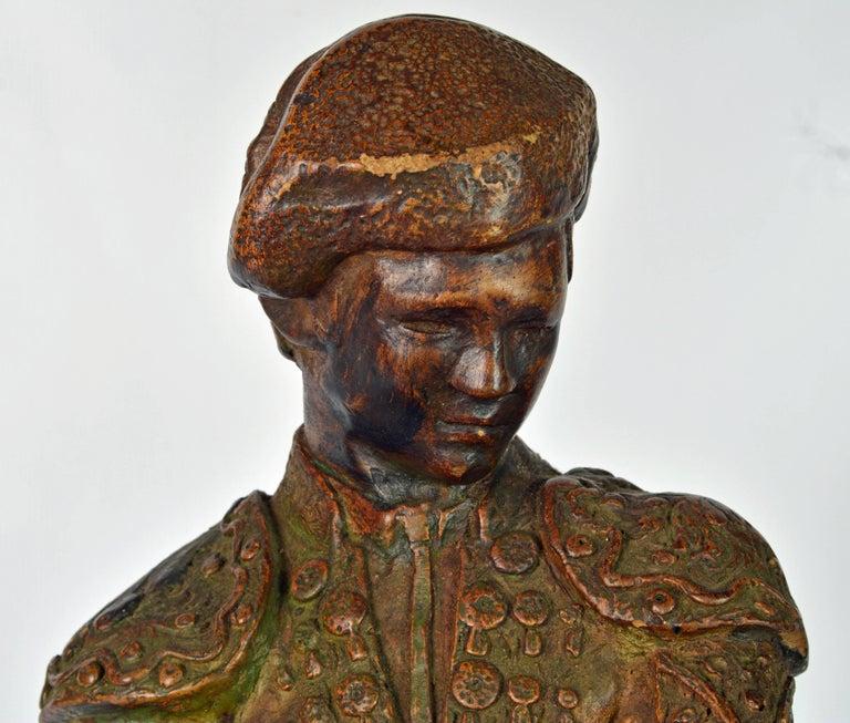'El Cordobes' Large Patinated Terracotta Statue of the Legendary Spanish Matador For Sale 1