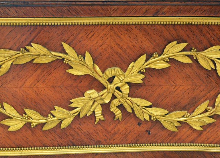 19th Century French Louis XV Bronze-Mounted Kingwood Parquetry Writing Desk For Sale 1