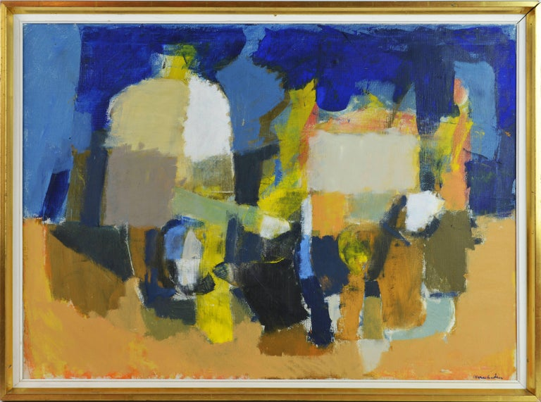'Still Life' By Stig Wernheden, Swedish, 1921-1997. Measures: 22 x 30 in. w/o frame, 24 x 32 in. including frame. Oil on canvas, signed. Housed in a likely original midcentury frame.  Stig Werheden: Stif Wernheden is a well listed Swedish