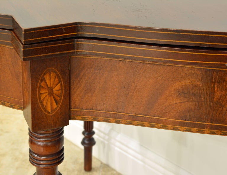 Pair of Early 20th Century American Sheraton Style Inlaid Mahogany Card Tables For Sale 6