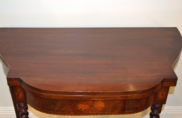 Pair of Early 20th Century American Sheraton Style Inlaid Mahogany Card Tables For Sale 8