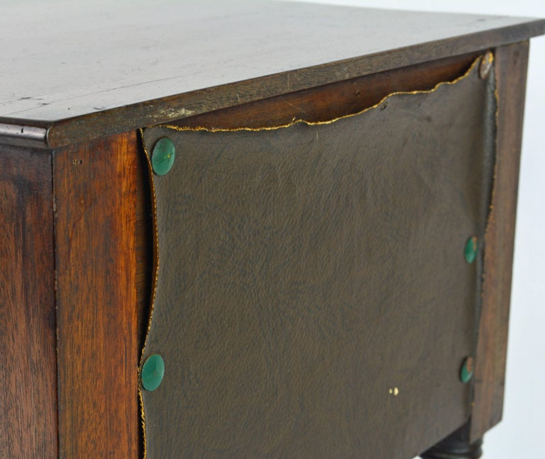 Brass American, Pa. 19th Century Mahogany Miniature Two-Drawer Chest on Turned Legs For Sale