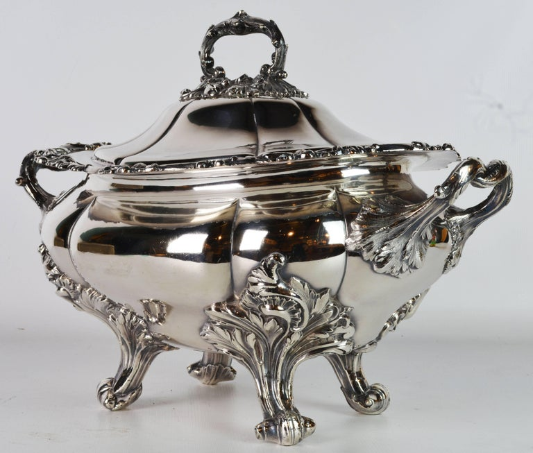 A magnificent tureen and a beautiful centerpiece by legendary James Dixon and Sons, showing the best craftsmanship and an elaborate rococo style design. Marked on the bottom and on the cover, see phptos.