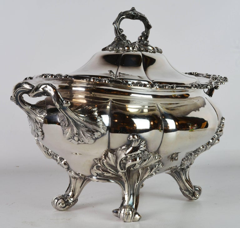 English Late 19th Century Large Silver Plate Rococo Style Turreen by James Dixon & Sons For Sale
