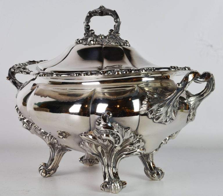 Late 19th Century Large Silver Plate Rococo Style Turreen by James Dixon & Sons In Good Condition For Sale In Ft. Lauderdale, FL