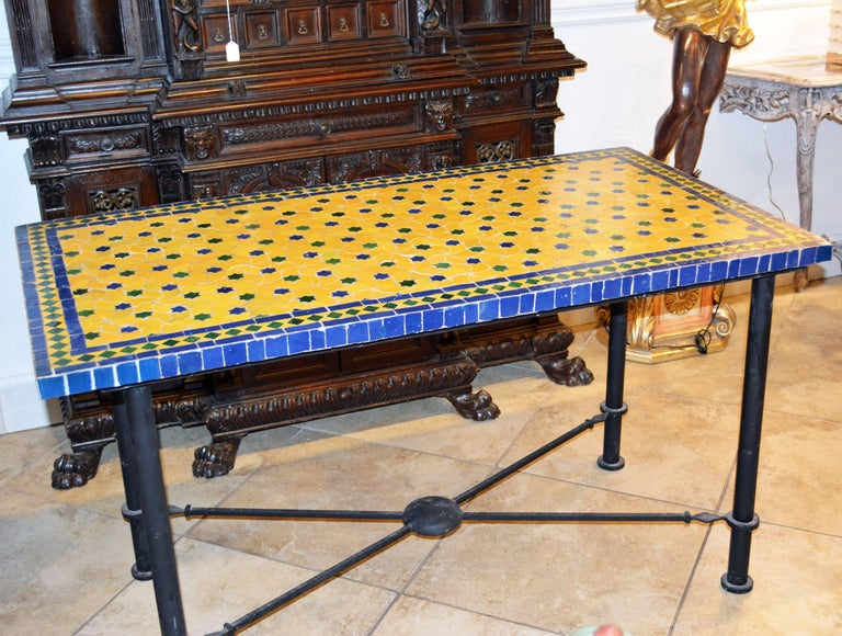 Mid-20th Century Italian Pompeian Style Iron Table with Ceramic Mosaic Top For Sale 5