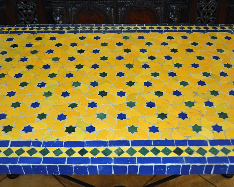 Mid-20th Century Italian Pompeian Style Iron Table with Ceramic Mosaic Top For Sale 6