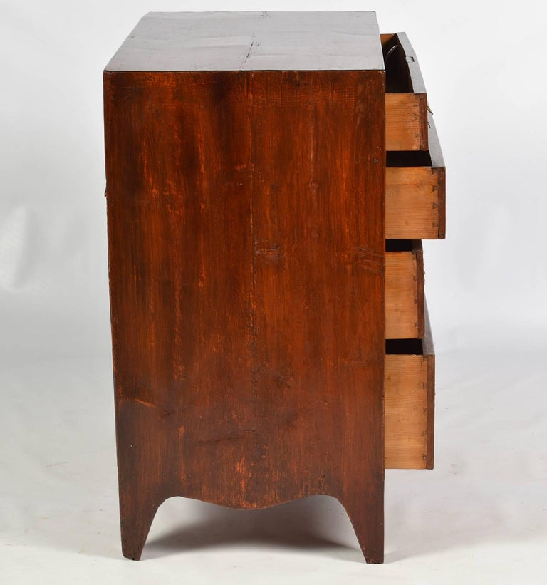 19th Century Georgian Small Size Caddy Top Mahogany Four-Drawer Chest In Good Condition For Sale In Ft. Lauderdale, FL