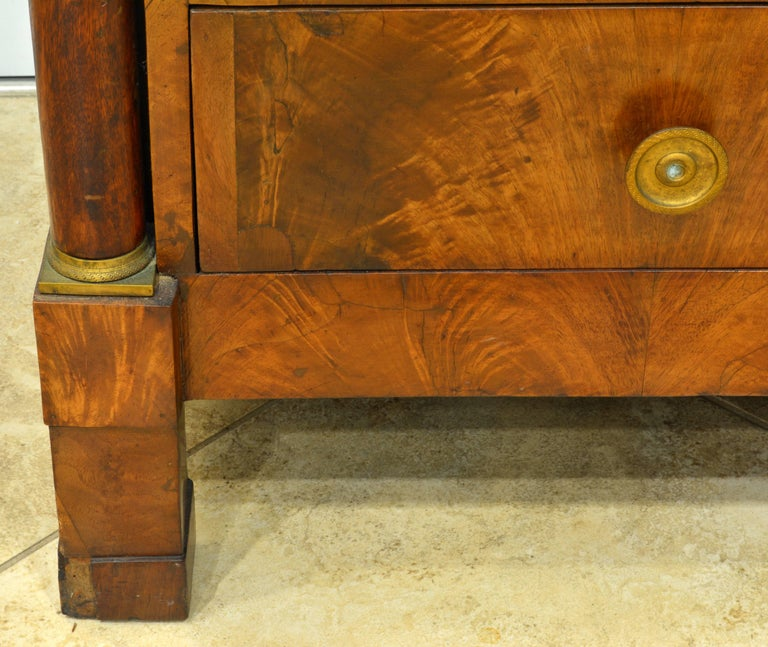 Gilt Early 19th Century French First Period Empire Marble Top Three-Drawer Commode For Sale