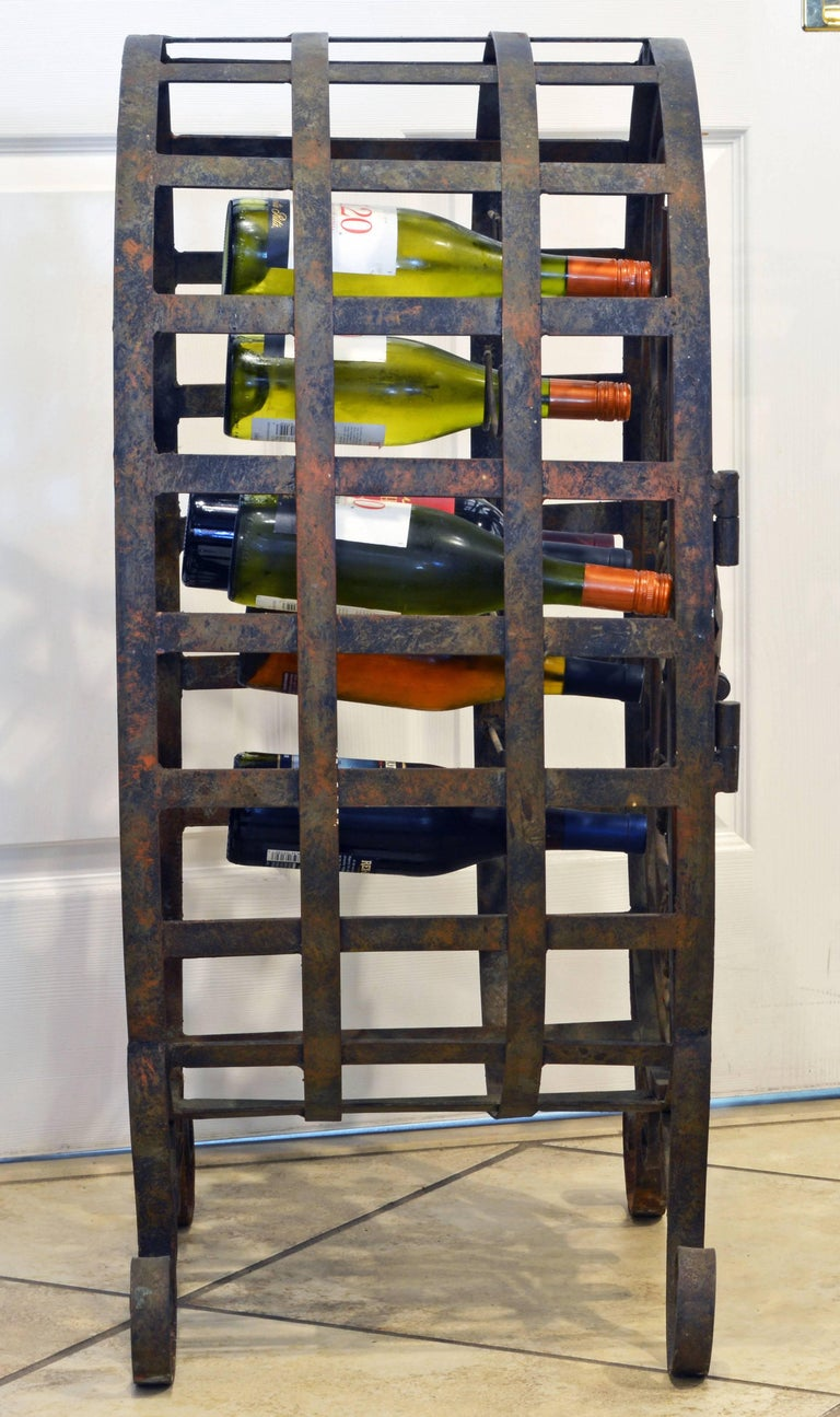 French Provincial Rare French Grape Vine Themed Wrought Iron Barrel Shape Wine Jail or Cage For Sale